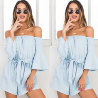 Fashion Off Shoulder Solid Color Pagoda Sleeve Middle Sleeve Romper Jumpsuit Shorts