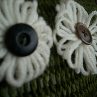 Olive Knit Throw Pillow with White Flowers