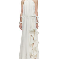 Mickael Ruffled Silk Gown, Ivory