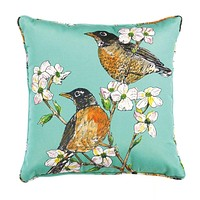 Robin And Dogwood Blooms Outdoor/Indoor Accent Pillow