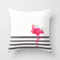 Live Free Flamingo  Throw Pillow by Sunkissed Laughter