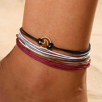 Fashion Casual Multi-layered String Anklet 4pcs