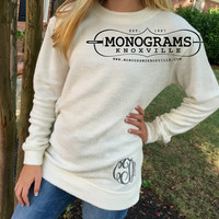 Oatmeal Ivory Cozy Crew Shirt Monogram Personalized  Font Shown MASTER CIRCLE in Grey