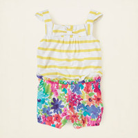baby girl - dresses & rompers - striped floral bow romper | Children's Clothing | Kids Clothes | The Children's Place