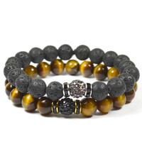 2 Pack Shamballa Lava Rock and Tiger Eye