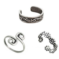 3pcs Women Retro Silver Toe Rings Set Foot Beach Jewelry Birthday Party Gift for Family Friend Adjustable