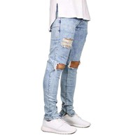 Mens Stretch Destroyed Ripped Jeans Zipper Skinny