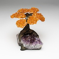 Medium - Genuine Citrine Clustered Gemstone Tree on Amethyst Matrix (The Money Tree)