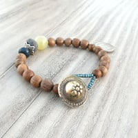 Gypsy Mala Bracelet, Bohemian, Light Brown Wood, Coin Charm, Blue and Green, Stacking Bracelet