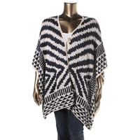 Lucky Brand Womens Plus Knit Printed Poncho Sweater