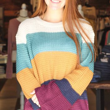Wonderful Fall Color Block Knit Sweater