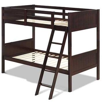 Wooden Bunk Beds Convertable 2 Individual Beds-Brown - Color: Brown
