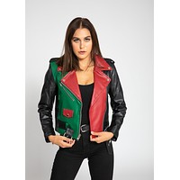 Women's Block Print Moto Style Faux Leather Jacket - Red/Green