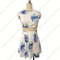 New Arrival 2015 Women Summer Fashion Dress Sexy O-Neck And Flower Print Design Short Dress Two Pieces Sleeveless Hot Sell = 1667676740