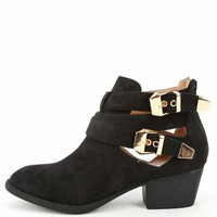 Wild Diva Audrey-03 Suede Buckle Cut Out Boots | MakeMeChic.com