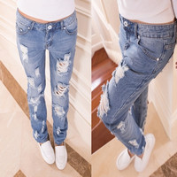 Women Fashion Low Waist Slim Holes Ripped Washed Casual Ladies Long Jeans = 1929831556