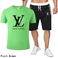 LV Louis Vuitton Summer Popular Men Casual Print T-Shirt Top Shorts Set Two-Piece Fruit Green