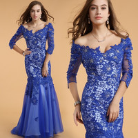 Women Formal Wedding Evening Club Lace Prom Ball Gowns Cocktail Bridesmaid's  Short Sleeve OFF Shoulders V-Neck = 1705165828