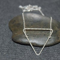 open triangle necklace, large triangle necklace, silver geometric necklace, silver triangle necklace, gifts for her, geometric jewelry