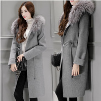 2016 New Autumn Winter Fashion Women Coat Cashmere Long Wool Coat With Big Fur Hooded Collar Female Warm Outwear