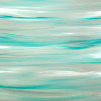 Coastal Original Abstract Painting Green and Gray Contemporary Art 16x20 Acrylic on Canvas