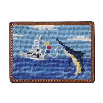 Offshore Fishing Needlepoint Credit Card Wallet by Smathers & Branson