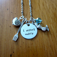 """Little Mermaid Inspired Necklace. """"I want more"""". Silver Colored, Hand Stamped, Swarovski crystal, for women or girls. FREE shipping."""