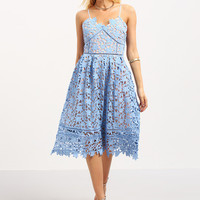 Blue Lace Flower Hollow Out Fit & Flare Lace Cami Dress