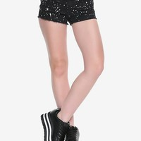 Blackheart Black & White Splatter Low Rise Shorts