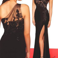 HIgh Slit Long Black Formal Dress One Shoulder Slim Fitted Sexy Prom Dress Customized Size