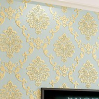 European Style Non-woven Wallpaper Luxury Damask 3D Stereoscopic Relief Damascus Bedroom Living Room Wall Paper Home Decor Paper