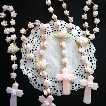 First Communion Favors, Baptism Decorations, First Communion, Girls Baptism Favors, Communion Twins Favors, Rosaries Favors, White Rosary
