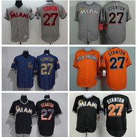 Miami Marlins 27 Giancarlo Stanton Jersey Cooperstown Vintage Baseball Jerseys Flexbase Cool Base Pullover Button White Grey Green Cream