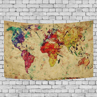 Vintage Retro World Map Tapestry Wall Hanging Earth Map Wall Art Home Decor