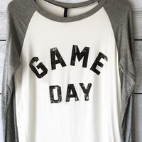 Game Day Football (Yet Baseball) Shirt for Women in Ivory / Grey