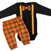 Baby Boys Full Suspender Bow Tie and Pants FALL outfit | Halloween complete outfit | Orange Plaid Bow Tie & Suspenders Pants Set