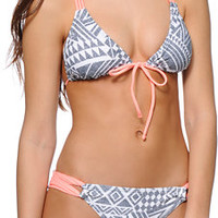 Malibu Bon Jovi Grey & Coral Macrame Back Triangle Bikini Top