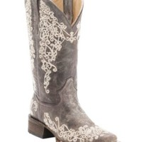 Corral Ladies Distressed Brown w/ Bone Embroidery Square Toe Western Boots