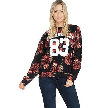 French Terry Floral Print Sweatshirt