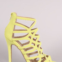Qupid Nubuck Strappy Caged Stiletto Heel