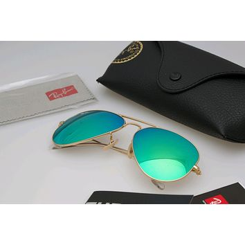 New RayBan Aviator Sunglasses flash Green color Mirror58mm r3025