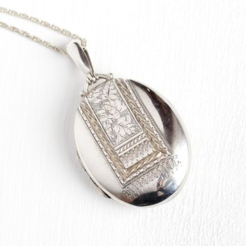 Antique Victorian Locket - Dated 1895 English Hallmarks Birmingham England Pendant - Vintage Statement Oval Etched Leaves Nature Jewelry