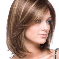 Gold Shoulder Length Straight Synthetic Wig