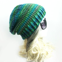 Emerald Slouchy Beanie Ribbed rim Beanie Hat Crochet Slouch Hat Girls Womens Cap spring accessories