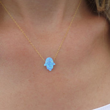 Hand necklace - Gold necklace, Opal hamsa necklace, Hand pendant, Lucky charm, Bridesmaid necklace, Charm necklace, Jewelry gift