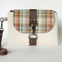 Taupe and Brown Plaid Wristlet with Brown Leather Accent, Brown Plaid Wristlet Wallet, Woman's Wrist Wallet, Small Handbag