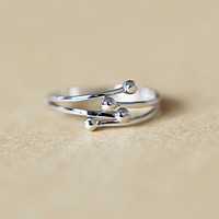 925 sterling silver four ball adjustable ring Women's silver fashion ring for gift