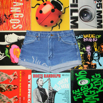 Vintage Denim Cut Offs - 80s High Waisted Stone Washed Blue Jean Shorts - Frayed Cuffed Naturally Distressed WRANGLER Shorts Size 8 10 M