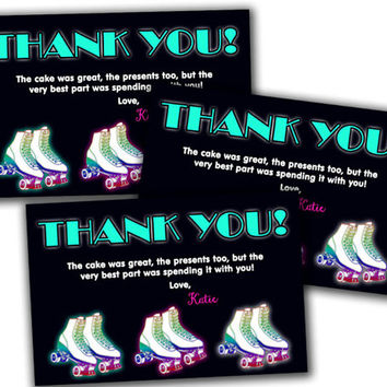 Retro 80s Roller Skating Thank You Card - Girls Roller Skate Party Favor Tags - Classic Skating Thank You Tags - Girls Fast Personalized