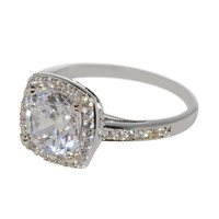 Cushion Cut Square CZ Ring Sterling Silver 8mm 2.5ct Solitaire